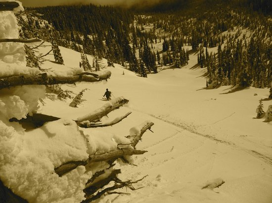 Big Red Cats: Guide Kieran checking out a sweet open powder field