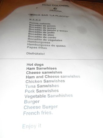Hotel Colonial Cayo Coco :                   this is the sanwishes menu ( funny)