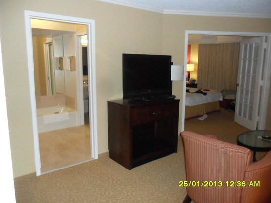Chicago Marriott Suites O'Hare:                   Living area with TV