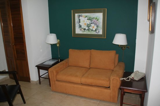 Apartotel & Suites Villas del Rio: Sitting area ... and the sofa is a hide-a-bed