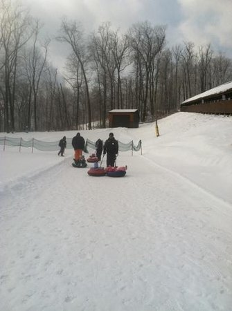 Liberty Mountain Resort:                                     pulling the kids up the kiddie tubing hill