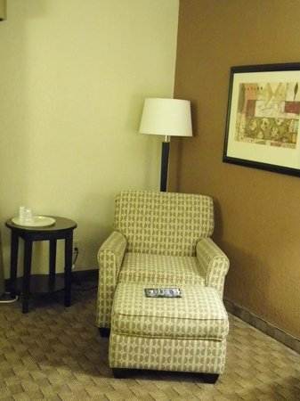 Holiday Inn Express Tuscola:                   Comfy Chair with End Table (Handy for Drinks) & Ottoman