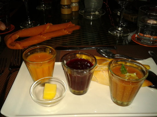 Tamarin:                   trio of chilled soup