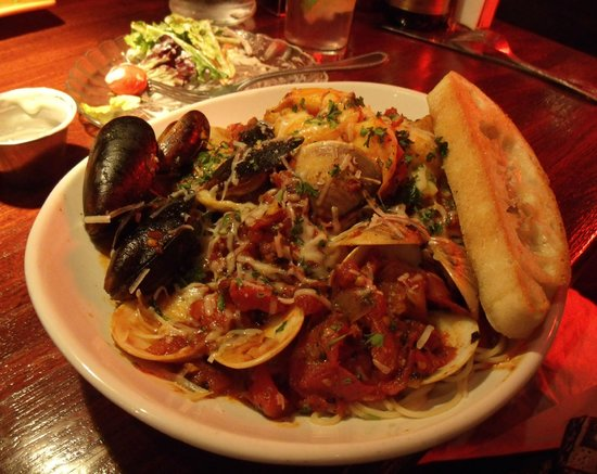 Table Ten:                   Cioppino was spicy, lots of well prepared seafood over a large portion of ange