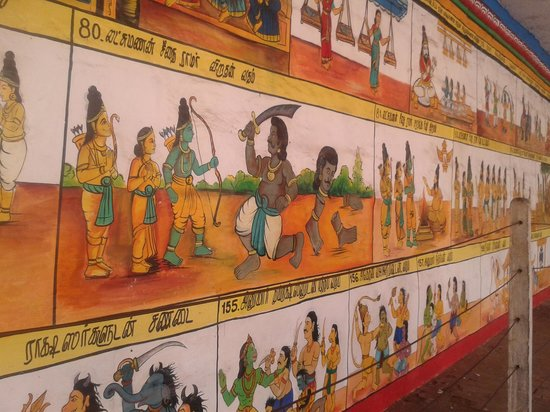 Kumbakonam, India:                   Paintings of Ramayana on the temple walls