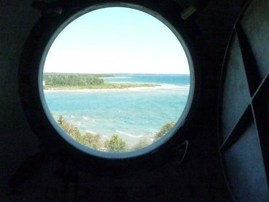 Cana Island Lighthouse: through a porthole window mid tower
