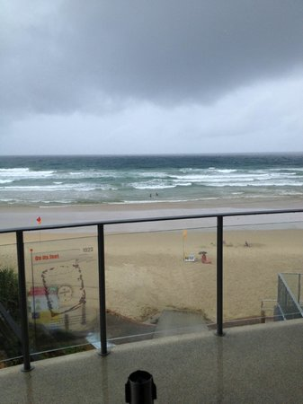 Coolum Surf Club: View from Balcony, you can see the storm clouds