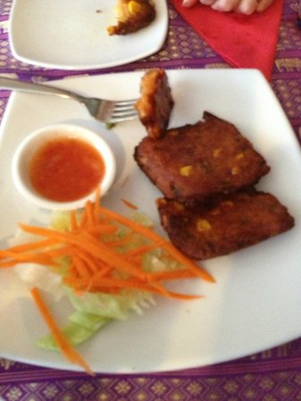 Coolum Thai Spice:                   Fish cakes (you can see the corn)