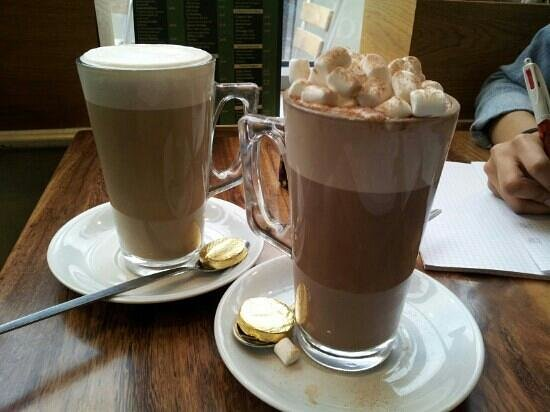 Cafe Blend:                   Soya Hot Chocolate with Marshmellows and a skinny decaf Chocolate Cookie Latte
