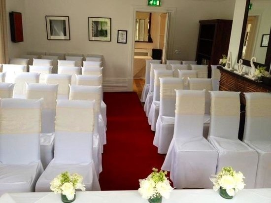 Woodlands Hotel Leeds:                                     Mulsanne room set for our wedding ceremony