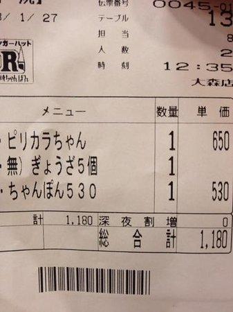 Ringer Hut  Express Omori: アンケートに答えて餃子が無料