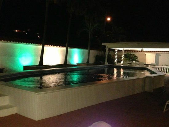 Bravo Beach Hotel:                   Garden pool at night; breakfast served in this area in AM; just outside Villa