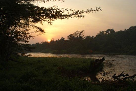 Ishasha Wilderness Camp:                   zonsopgang gezien vanaf terras van onze tent