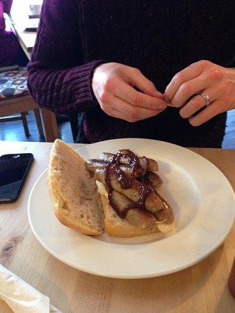 Cafe Eighteen:                   Sausage sandwich in ciabatta