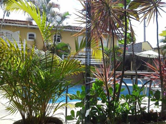 Auberge de la Langouste:                   La piscina entre verdes