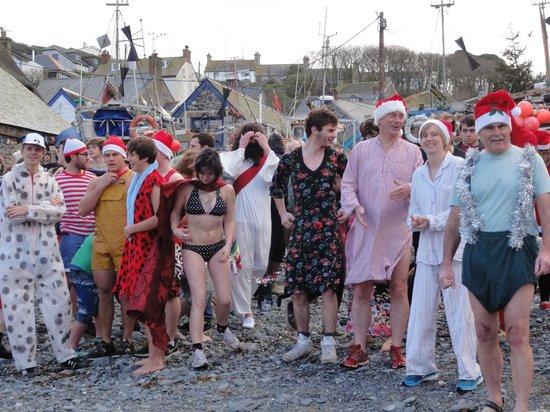 Cadgwith Cove Inn Restaurant:                   Christmas Swim am Hafen von Cadgwith: gleich stürmen sie alle ins Wasser