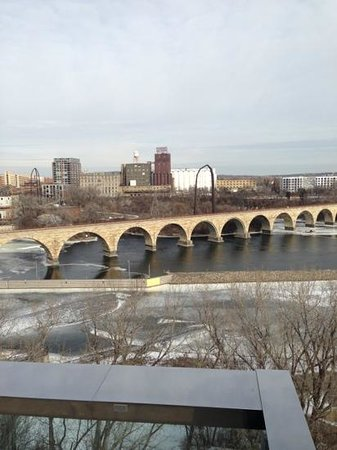 Guthrie Theater:                   stone arch bridge from the Guthrie