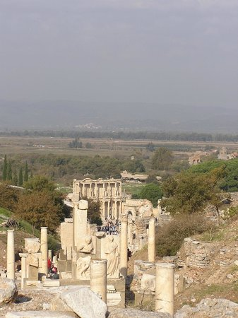 Ancient City of Ephesus:                                     View from site with Celsus Library in foreground