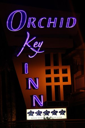 Orchid Key Inn:                                     The welcome sign by night
