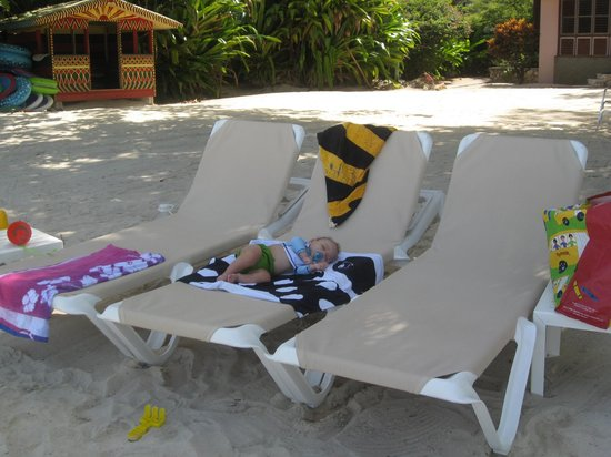 Nirvana on the Beach:                   Baby napping in ample shade