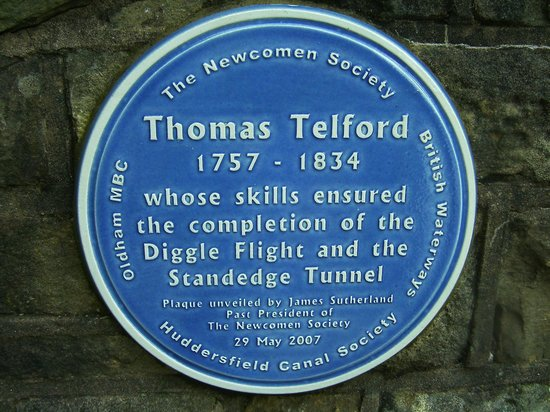 Standedge Tunnel & Visitor Centre: Thomas Telford plaque at Diggle end of tunnel.