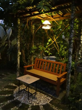 PJ's Place: garden nook at night