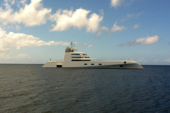 Four Seasons Resort Nevis, West Indies:                   cool yacht in front of resort