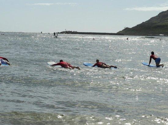 Kauai Beach Boys : paddeling out to surf