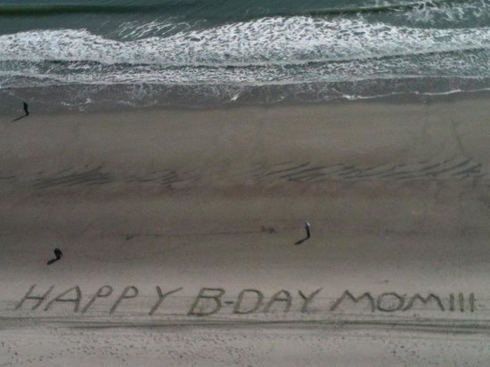 Carolinian Beach Resort:                   Our B-Day card for Mom's 80th - 'sandwriting', view outside our window
