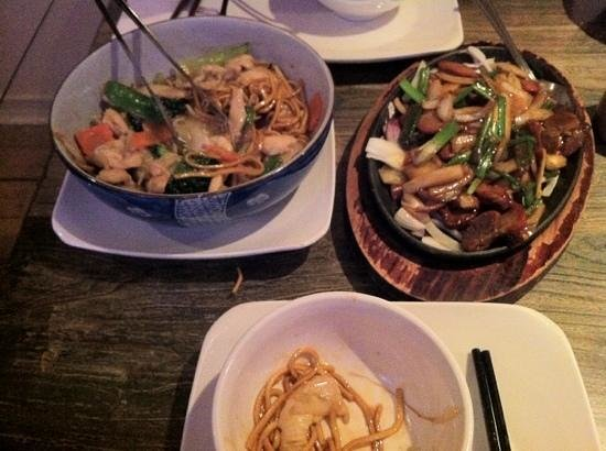 The Rice Bowl:                                     chicken chow main and Sizzerling pork with spring onion and