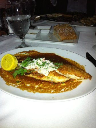 Eddie V's Prime Seafood:                   Louisiana redfish topped with lump crabmeat