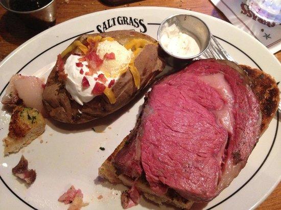 Saltgrass Steak House: 8 oz prime rib with baked potato