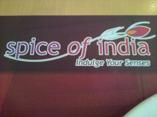 Spice of India :                   Menu card!!
