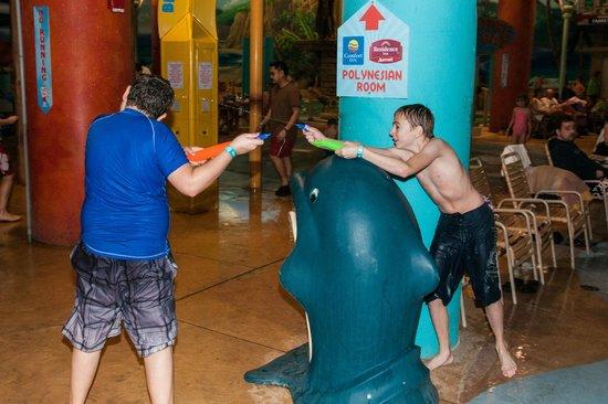Splash Lagoon Indoor Water Park Resort : Fun with Squirt Guns