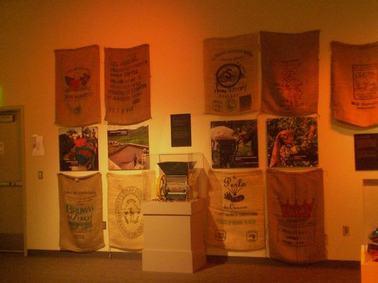 Tampa Bay History Center: Coffee bag display of Tampa's famous coffee