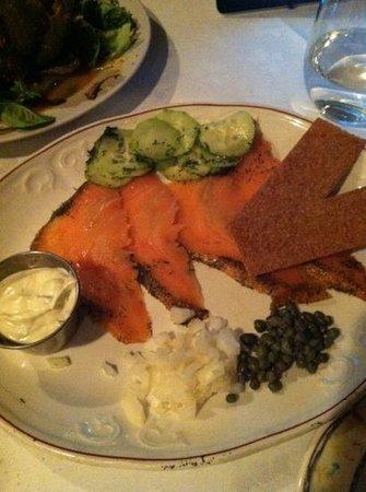 Coach Grill & Tavern:                   salt cured salmon w dill cucumbers