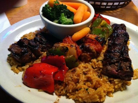 Texas Roadhouse:                                     Sirloin Kebab on Rice