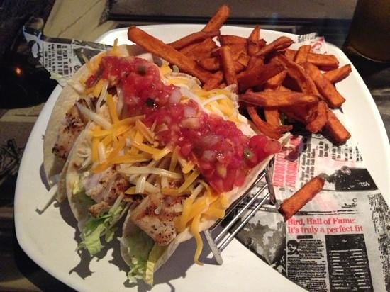 Boston's on the Beach :                   Fish Tacos (grilled) w/ SP Fries