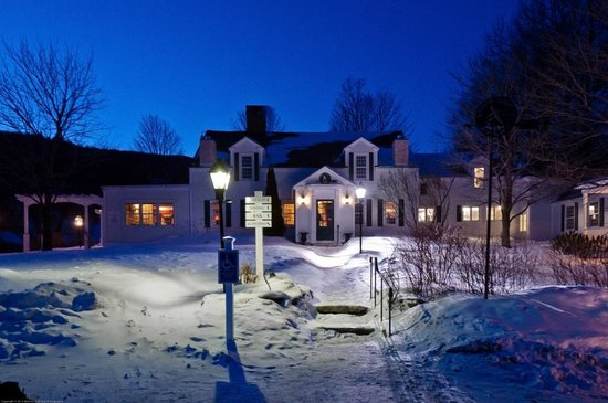 The Hermitage Inn: The inn at the magic hour--lighting created this purple cast