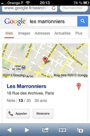 Les Marronniers: the map