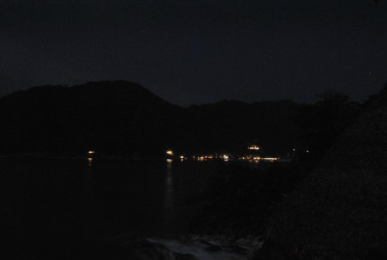 Casa Santa Cruz:                                     Night view towards town (mostly around the bend) from the up