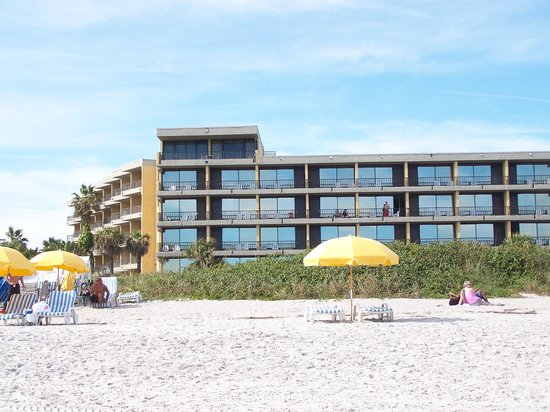 La Quinta Inn & Suites Cocoa Beach Oceanfront:                   looking back at hotel from beach