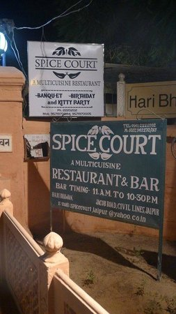 Spice Court Restaurant:                   Spice Court Sign - out on Jacob Road