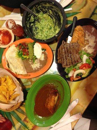 Mexico Lindo Restaurant: From the top and going clockwise: fresh guacamole, carne asada, tamale and fajita quesadilla.