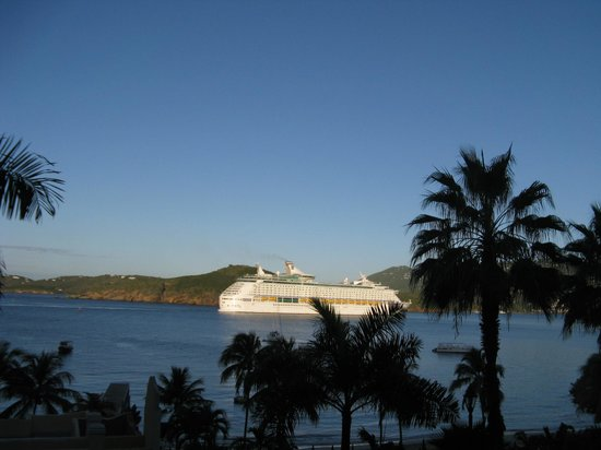 Marriott's Frenchman's Cove:                   View from the room- Perfect for the cruise ships coming and going