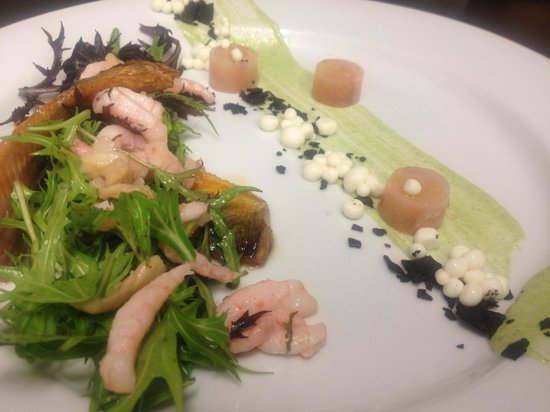 Camille's Fine Westcoast Dining:                                     Seafood salad, trout two ways, Wakame aioli, bacon pannacott