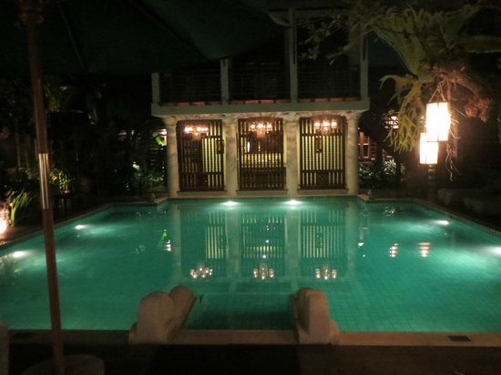 The Rim Resort:                   The hotel pool at night