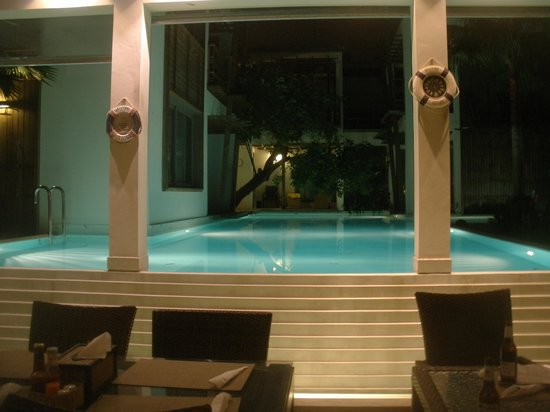 Paragon Inn:                   View of the pool at night