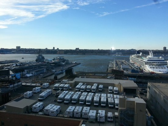 Kimpton Ink48 Hotel:                   View of the USS Intrepid and cruise terminal from 12th floor Hudson Suite