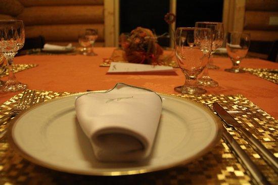 Northern Lights Resort & Spa:                   table setting of dinner
